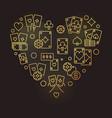 poker heart modern golden outline vector image