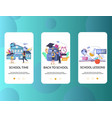 school mobile app onboarding screens vector image vector image