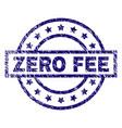 scratched textured zero fee stamp seal vector image vector image