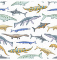 sea dinosaurs or jurassic animals seamless pattern vector image vector image