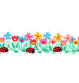 seamless kids border ladybugs and flowers vector image