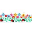 seamless kids border ladybugs and flowers vector image