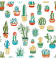 seamless pattern of cacti and succulents vector image