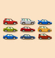 set of cars collection vehicle sedan hatchback vector image vector image