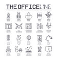 set office interior thin line icons pictograms vector image vector image