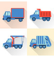 set truck icons in flat style with long shadow vector image