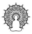 Silhouette buddha over ornate mandala round
