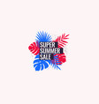 super summer sale abstract background with palm vector image vector image