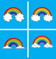 symbol rainbow and clouds in blue sky vector image