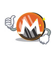 thumbs up monero coin character cartoon vector image