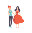 two beautiful women friends talking to each other vector image vector image