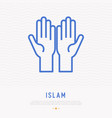 two hands palm up thin line icon vector image vector image