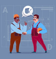 Two mix race builders shaking hands agreement vector image