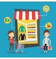 Two women doing shopping online vector image vector image