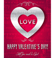 valentines day greeting card with silver text vector image vector image