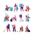 volunteers collect litter set people raking vector image vector image