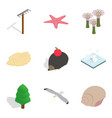 wildlife preservation icons set isometric style vector image vector image