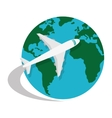 world planet earth with airplane isolated icon vector image