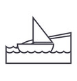 yacht on sea beach vacation line icon vector image vector image