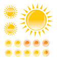 yellow sun template for buttons or icons vector image