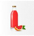 juice grapefruit bottle glass realistic vector image