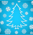 white paper christmas tree on the blue vector image