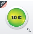 10 Euro sign icon EUR currency symbol vector image vector image