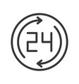24 and arrow business working hours icon pixel vector image