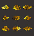 asian clouds icon set vector image vector image