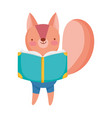 back to school education squirrel reading textbook vector image