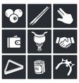 Billiard icon collection vector image vector image