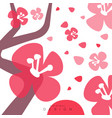 blooming sakura card with traditional asian vector image