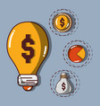 bulb with coin and statistics with bag vector image vector image