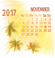 Calendar November 2017 and maple leaf vector image