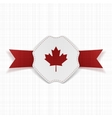 Canada red Maple Leaf on realistic Label vector image