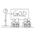 cartoon teacher in classroom with marker in vector image