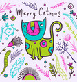 cat christmas funny card new year vector image