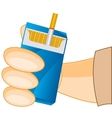 Cigarette pack in hand vector image