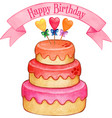 cute watercolor colorful cake vector image vector image