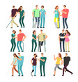 disabled people with caring friends handicapped vector image vector image