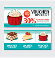 Discount voucher set of dessert template design vector image