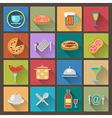 dishes and food icons in flat design style vector image