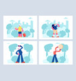elderly people open air workout and traveling set vector image vector image