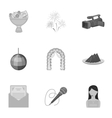Event service set icons in monochrome style Big vector image vector image