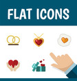 flat icon amour set of ring gift necklace and vector image vector image