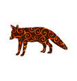 fox wildlife color silhouette animal vector image vector image