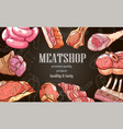 fresh meat banner premium quality product on vector image vector image