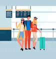 friends travelers taking selfie in airport vector image vector image