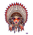 girl in native american traditional headdress vector image vector image