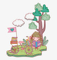 girl read book with bicycle and tree vector image vector image